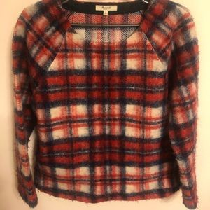 Madewell Wool blend brushed plaid pullover